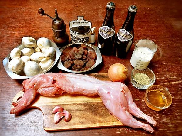 Zutaten Kaninchen in Orval-Bier, Rezept auf Bergers belgisches Bier-Blog