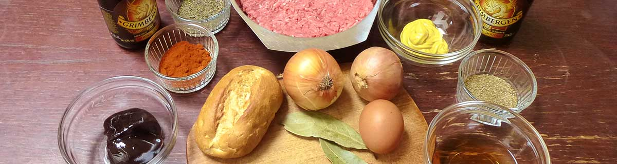 Verschiedene Zutaten zum Kochen belgischer Buletten